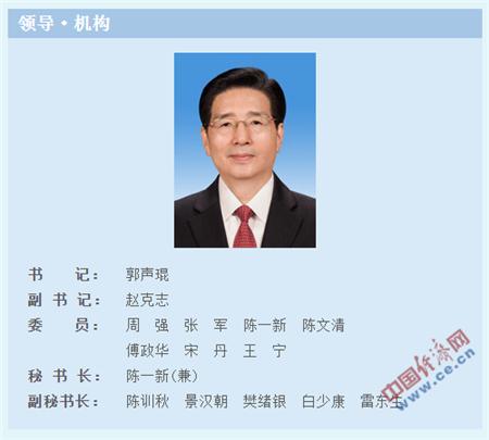 赵克志任中央政法委副书记 樊绪银任副秘书长
